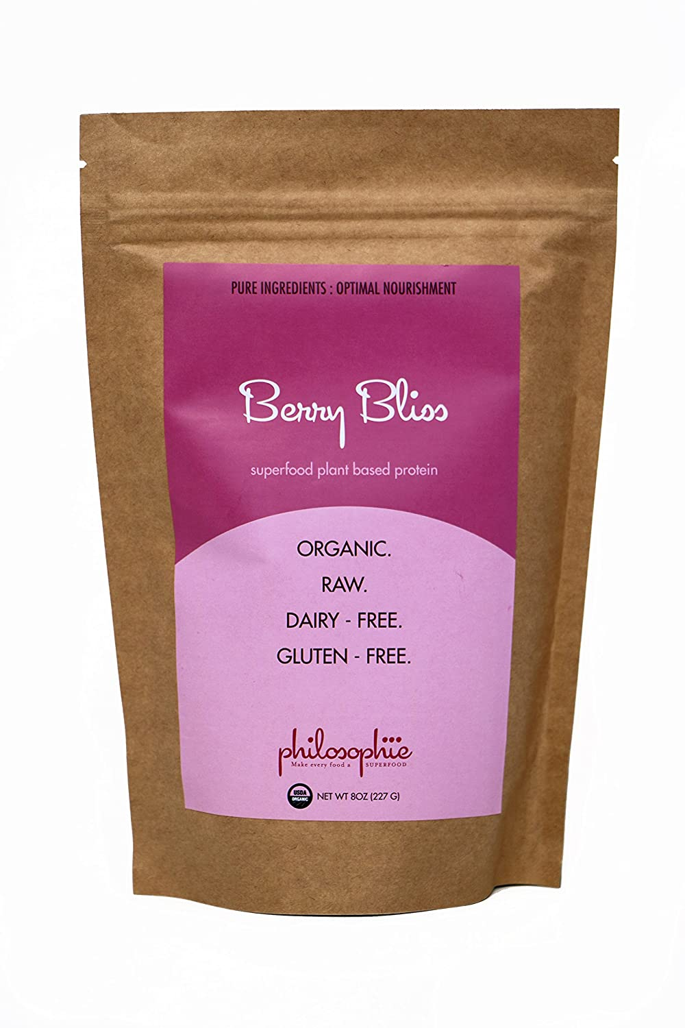 Philosophie Berry Bliss Superfood Protein Powder – Vegan Protein Powder – 8 oz – Natural, Caffeine Free Boost of Energy, Low Carb Superfood, Sustained Release For Daily Balance