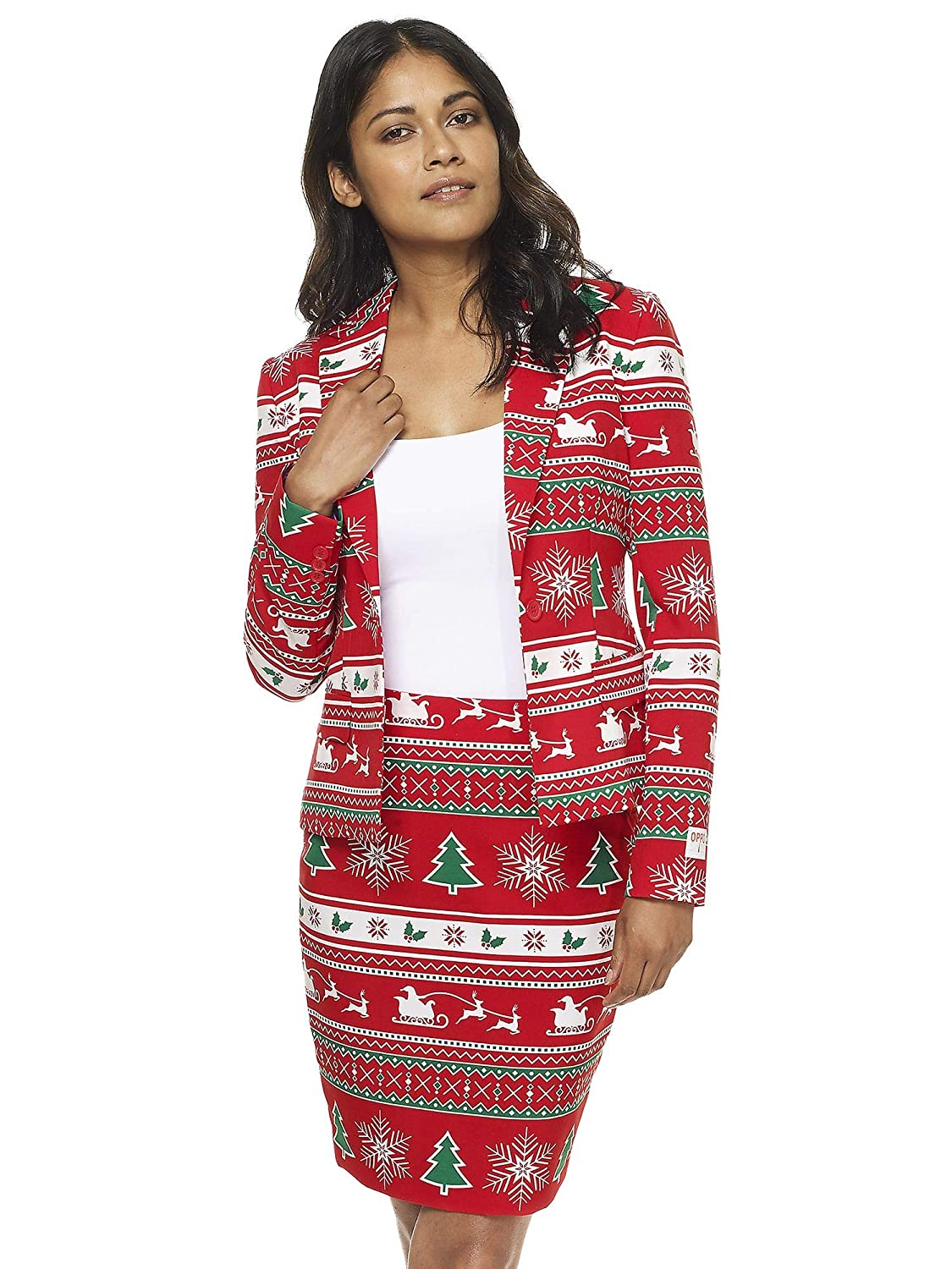 Winter Woman Opposuits Fun Christmas Suits  Full Set Contains Jacket and Skirt