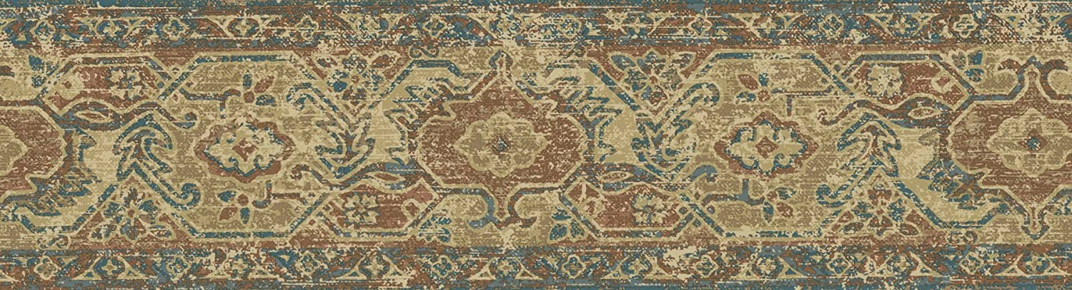 Brewster E742209B Borders and More Folklore Rug Wall Border 6.825-Inch by 180-Inch Tan//Blue