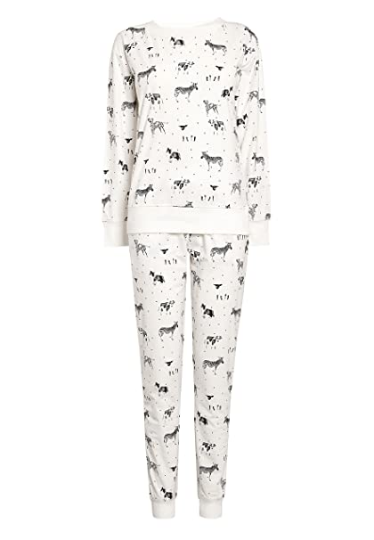 next Mujer Pijama Abrigado Monocromo Animal XL Reg