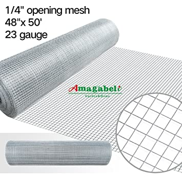 48x50 Hardware Cloth 1/4 Inch Square Galvanized Chicken Wire Welded Fence  Mesh Roll Raised