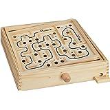 Relaxdays 10023502 Holz Labyrinth Spiel, mit 2 Kugeln, Geschicklichkeitsspiel, Balancespiel, ab 3 Jahren, Brettspiel XL, Natur