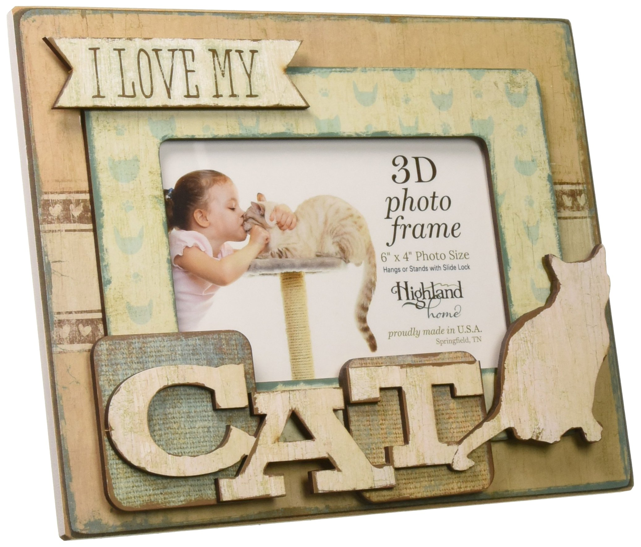 Highland Woodcrafters I Love My Cat 6''x4'' Wooden 3D Photo Frame by Highland Woodcrafters (Image #2)
