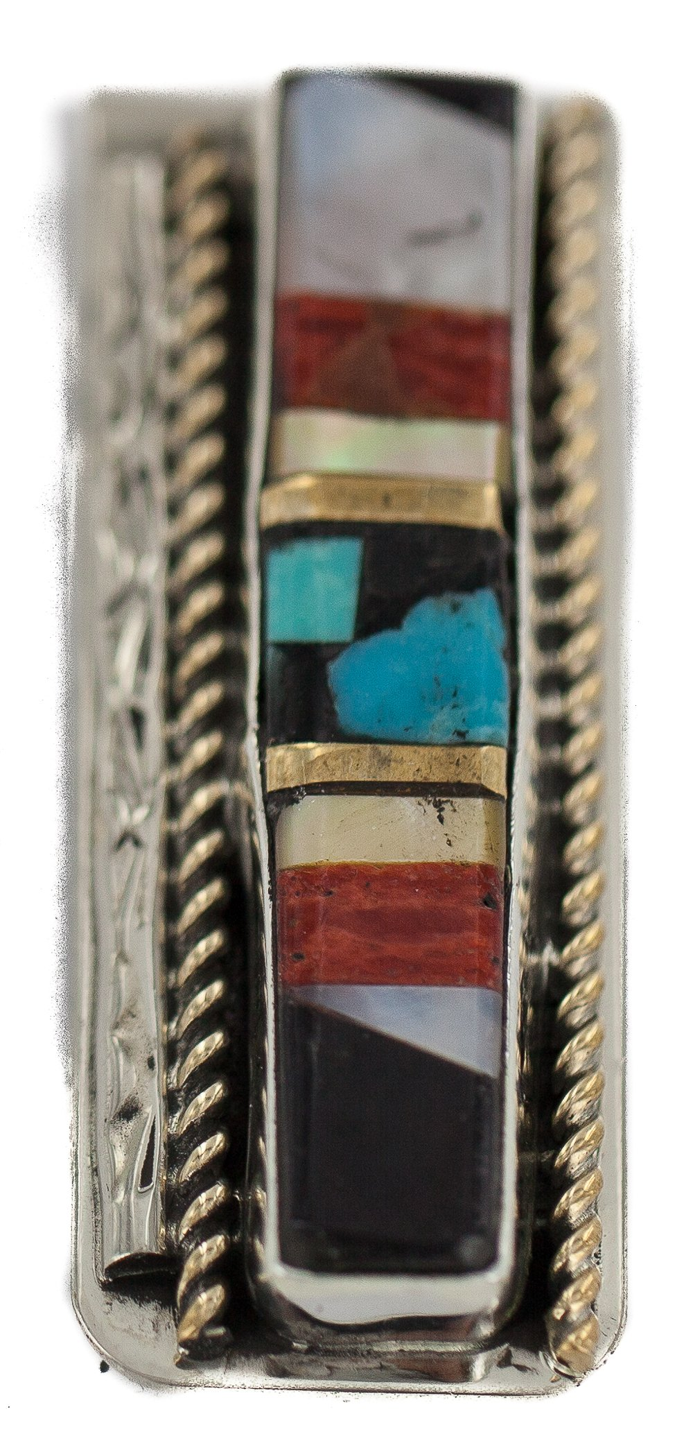 $190 Retail Tag Navajo Handmade Authentic Made by Robert Little Silver Inlaid Natural Spiny Oyster Turquoise Mother of Pearl Black Onyx Native American Nickel Money Clip