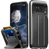 Galaxy S8 Plus Wallet Case, Vena [vCommute][Military Grade Drop Protection] Flip Leather Cover Card Slot Holder with KickStand for Samsung Galaxy S8+ Plus (Space Gray / Black)