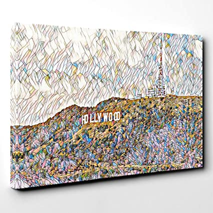 HOLLYWOOD SIGN LOS ANGELES CALIFORNIA FRAMED CANVAS WALL ART PICTURE PRINT