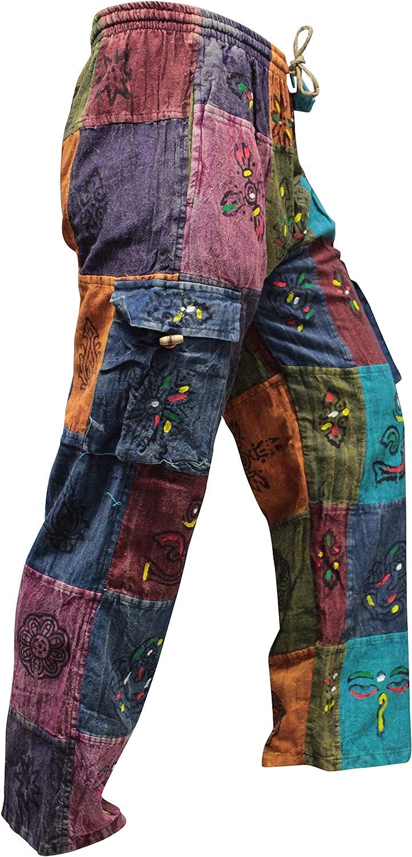 SHOPOHOLIC FASHION Acidwashed Unisex Patchwork Estate Festival Hippy Pantaloni