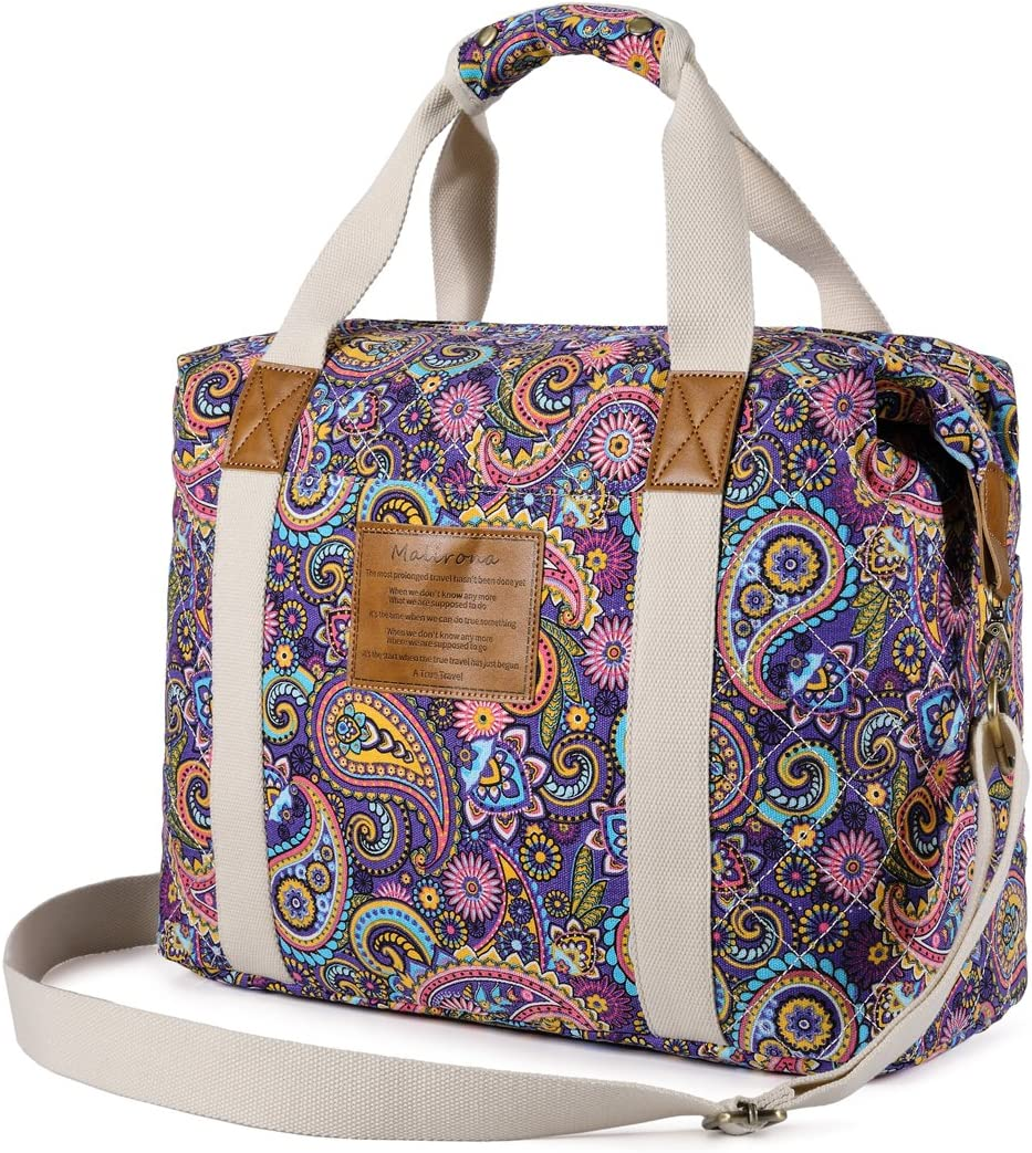 Malirona Ladies Women Canvas Travel Weekender Overnight Carry-on Shoulder Duffel Tote Bag Bohemian Flower Plum Flower