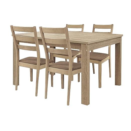 WHYNOTHOME Conjunto de 4 sillas de Madera Maciza Color Roble ...