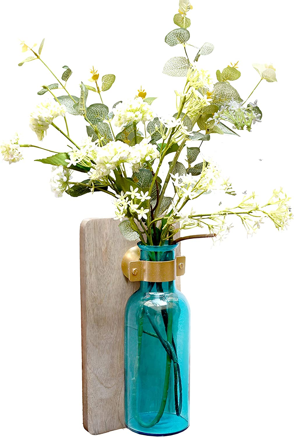 AIKYA Blue Decorative Wall Flower Sconce – Rustic Floral Hanging Vase Decor – Ideal Contemporary Wall Decor for Home, Office, Farmhouse or as a Housewarming Gift – Flower not Included ,