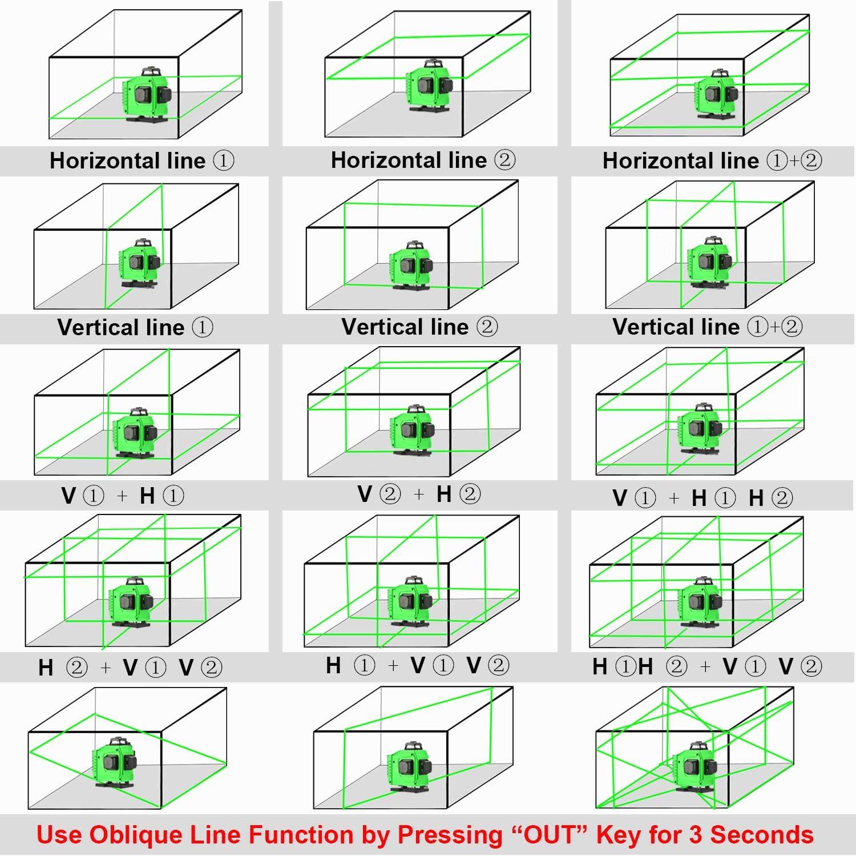 autonivelaci/ón 4D 16 l/íneas Rayo verde L/áseres de cuatro planos 2x360 /° Vertical 2x360 /° L/ínea horizontal,control remoto niveladora Laser Nivelaci/ón l/áser de l/ínea cruzada 4X360 /°
