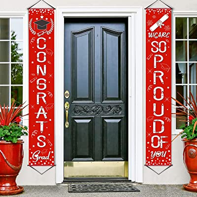 WE are SO Proud of You Banner Decoration Set Graduation Porch Sign Congrats Banner Hanging Decoration for Indoor/Outdoor Graduation Decoration Graduation Party Grad Party Decorations (Red): Home & Kitchen