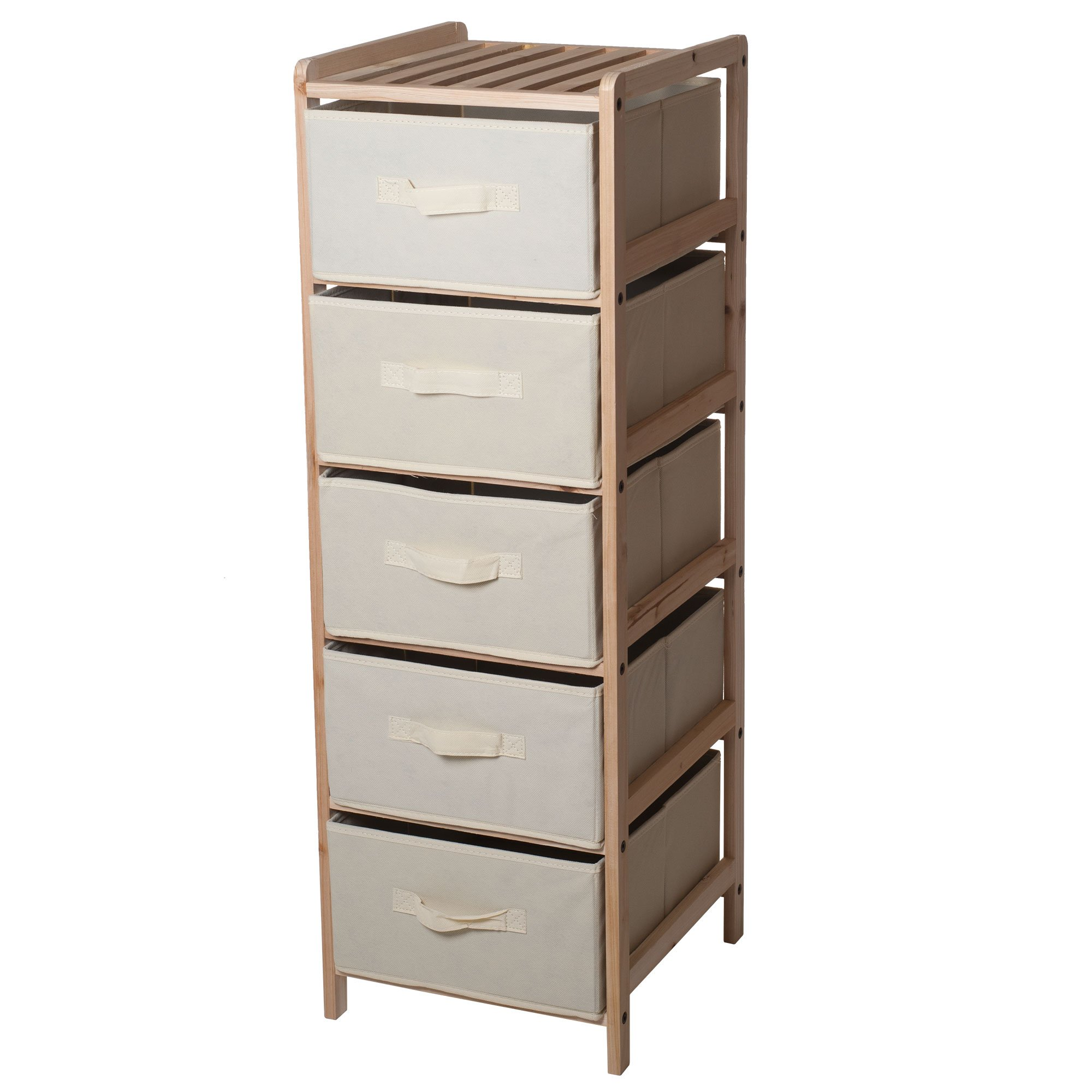 Lavish Home Organization Drawers with Natural Wood Shelf and Five Fabric Storage Bins- Lightweight and Perfect for Dorms, Bathrooms or Bedrooms
