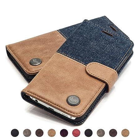 QIOTTI Hülle Kompatibel mit Galaxy S6 Ledertasche aus Hochwertigem Leder mit Kartenfach Handyhülle Tasche in Denim Braun