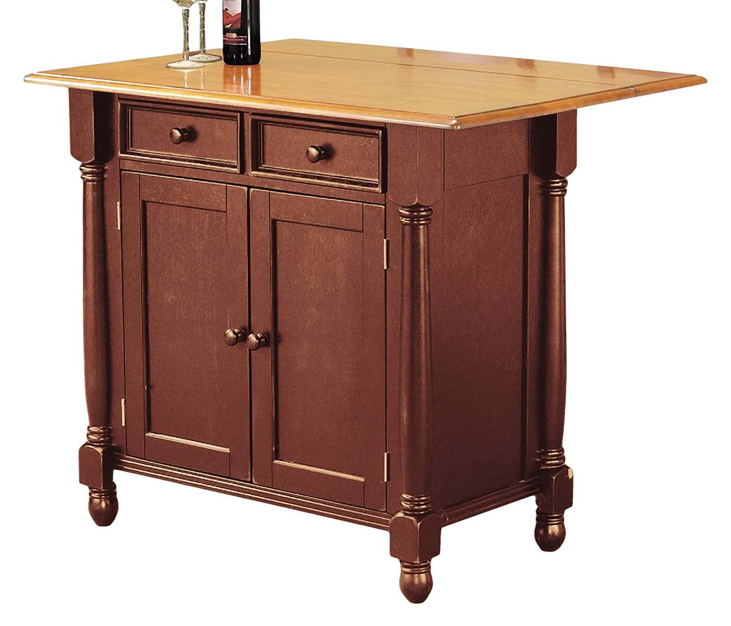Amazon Sunset Trading Kitchen Island with Light Oak Drop Leaf