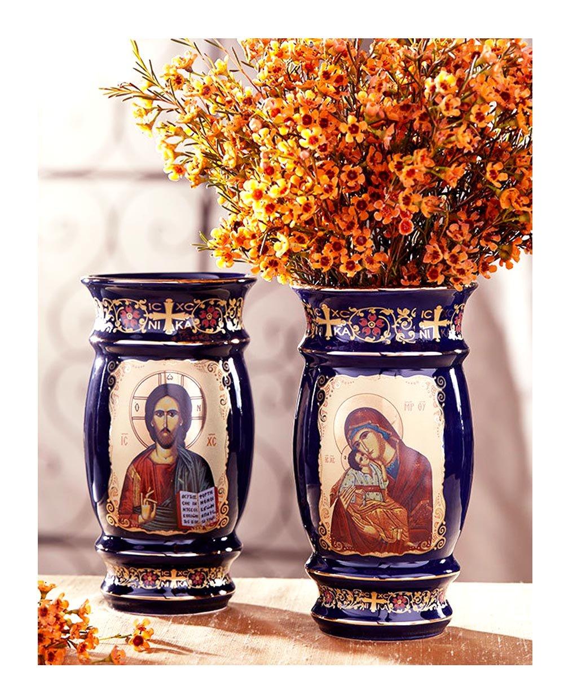 Byzantine Icon Madonna and Child Christ Reversible Vase 6 1/2 Inch