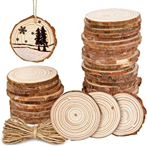 Colovis 50Pcs Natural Wood Slices 2.4-2.8 Inches Craft Wood Kit Unfinished Wooden Circles with Holes DIY Crafts with Bark for Arts Craft Ornaments Rustic Wedding DIY Coaster Christmas Ornament