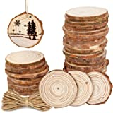 """50Pcs 2.4""""-2.8"""" Natural Wooden Slices,Colovis Unfinished Wood Circles with Holes Tree Bark Round Log Discs DIY Crafts Hanging"""