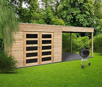 Solid Abri de Jardin en Bois Trait Autoclave avec terrasse ...