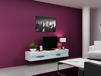 High Gloss Living Room Set with LED Lights | TV Stand | Wall Mounted  Cabinet - Modern Display Units Floating Design (White, 1 TV Unit)