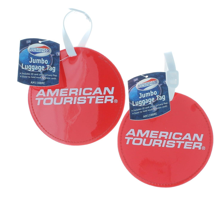 Amazon.com | American Tourister Jumbo Luggage Tag Set of 2 Round Red ...