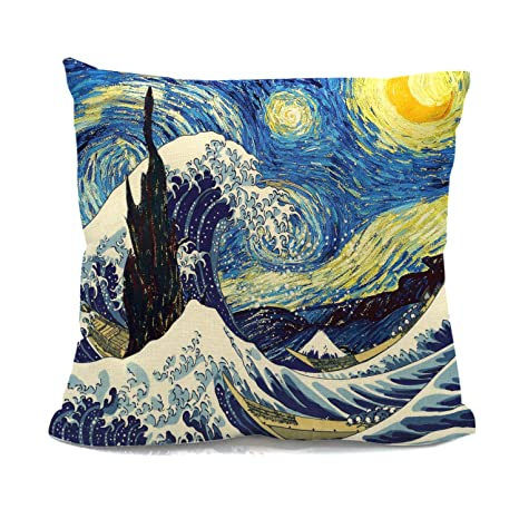 Amazon.com: Art Pillow Cover Combination of The Great Wave ...