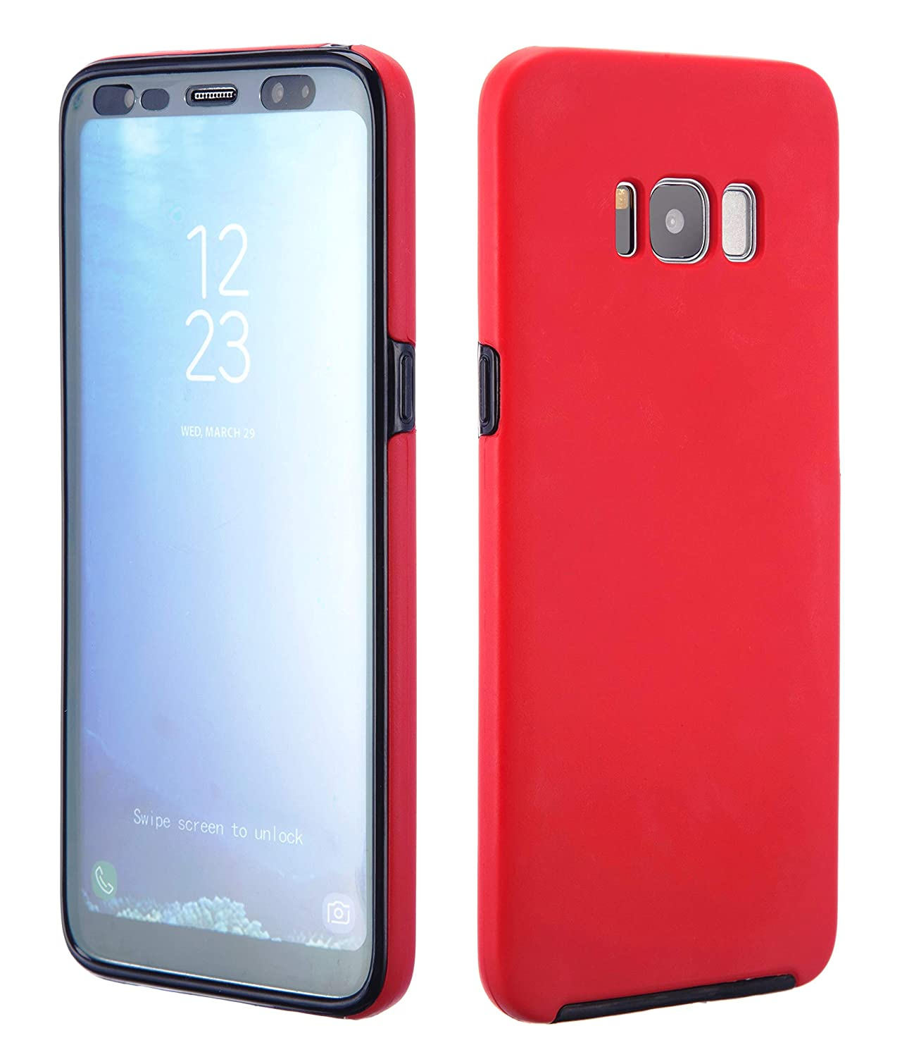 new style 05aed 906cf NWNK13® Samsung S8 Case Red Durable Slimmer Premium Quality Galaxy S8 Case  Rugged Shell Case 360 Degree Wrap Round [ Wireless Charging Compatible ] ...