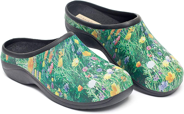 Backdoorshoes Waterproof Premium Garden Clogs with Arch Support-Meadow Design