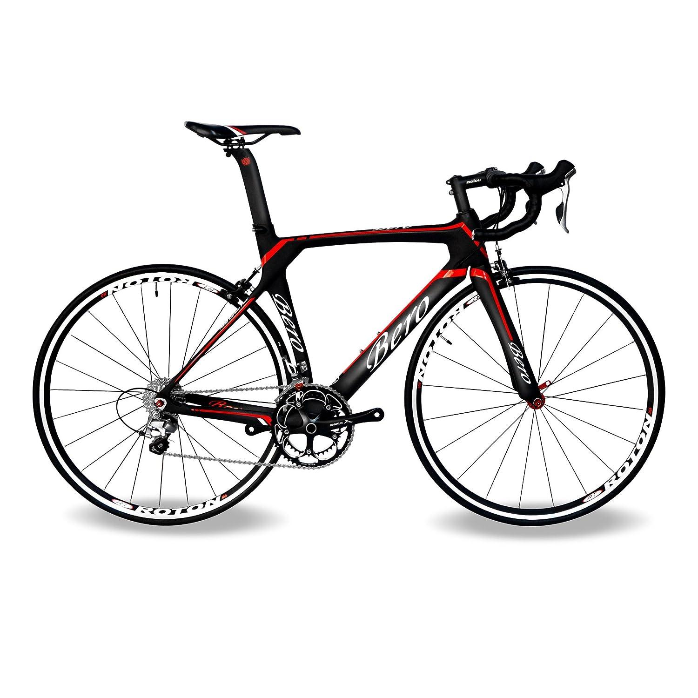 BEIOU 700C ロードシマノ105 自転車 5800 22Sレーシング 自転車 T800-M40カーボンファイバーエアロフレーム 超軽量 18.3lbs CB013A-2 [並行輸入品] B01DTVNR42 540mm|マットブラック&レッド マットブラック&レッド 540mm