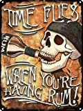 """Grindstore """"Time Flies When You're Having Rum"""" Tin Sign, Multi-Colour, 30.5 x 40.7 cm"""