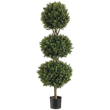 Silk Decor 1 4'TRI Ball Boxwood TOP.(P) GRTT Greenery, 48-in, Two Tone Green