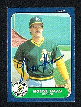 Moose Haas U 48 Autograph Auto 1986 Fleer Baseball Trading Card At
