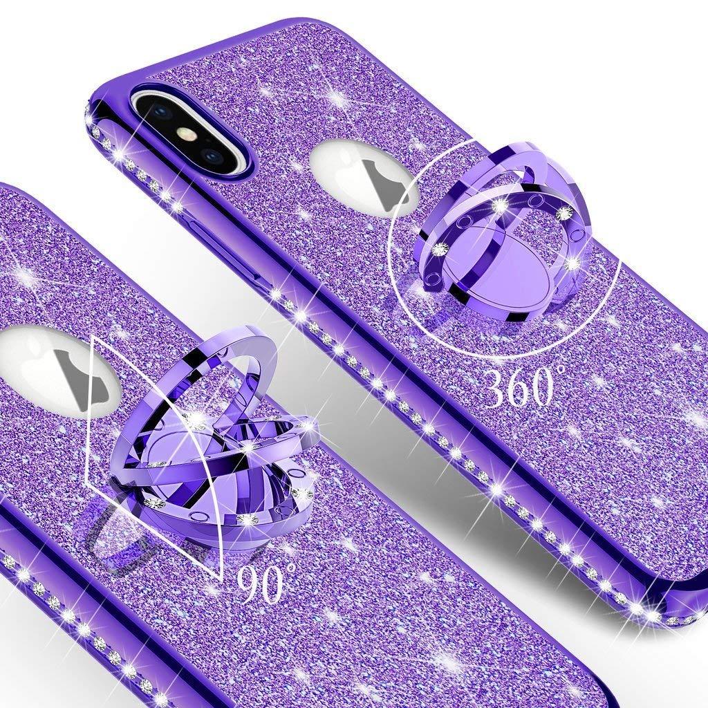 Schwarz Homikon Silikon H/ülle Kompatibel mit Samsung Galaxy S7 /Überzug TPU Bling Glitzer Strass Diamant Schutzh/ülle mit 360 Grad Ring St/änder Soft Flex Durchsichtig Silikon Handyh/ülle Tasche Case
