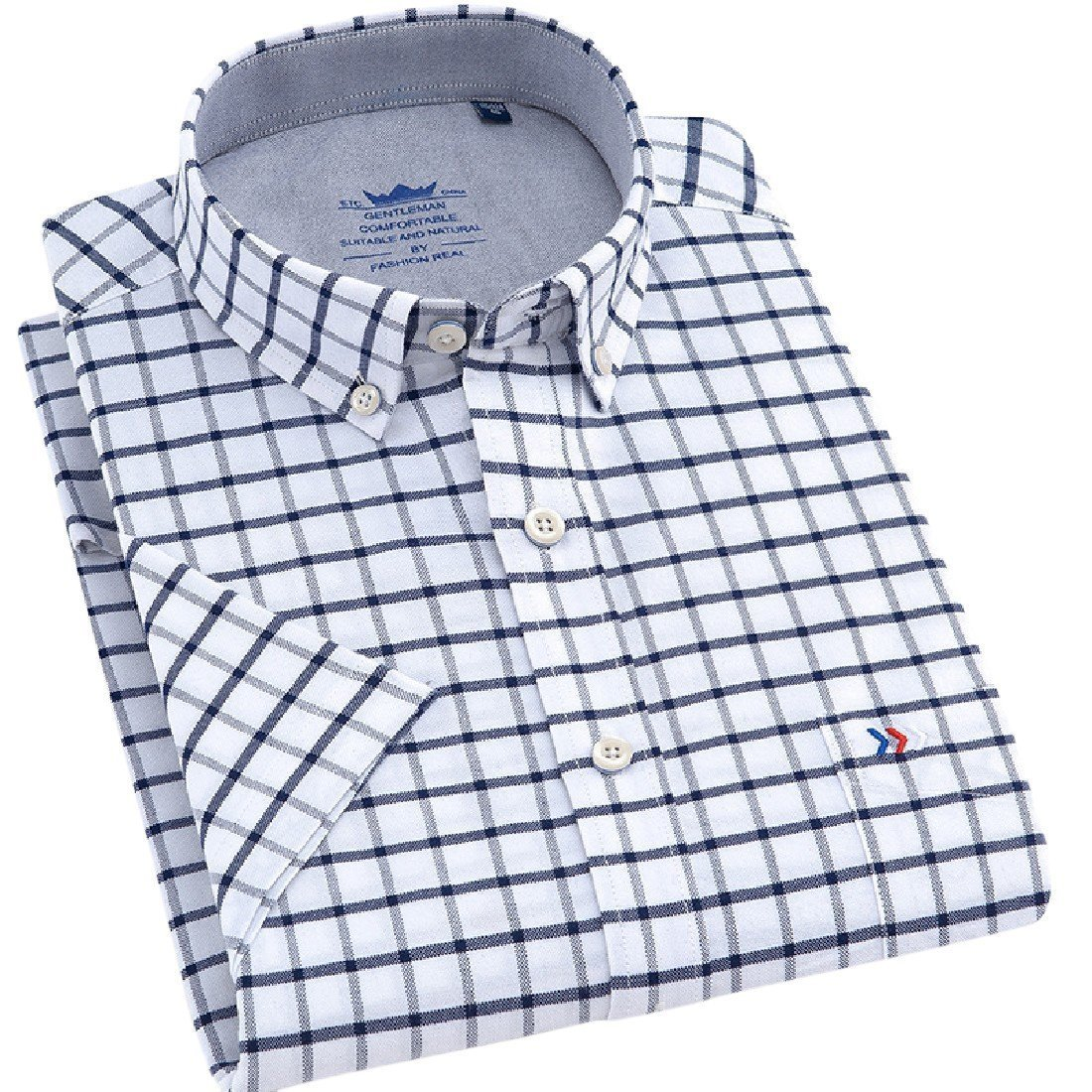 YUNY Men Cotton Oversize Summer Short-Sleeve Leisure Button Down Shirt 18 L