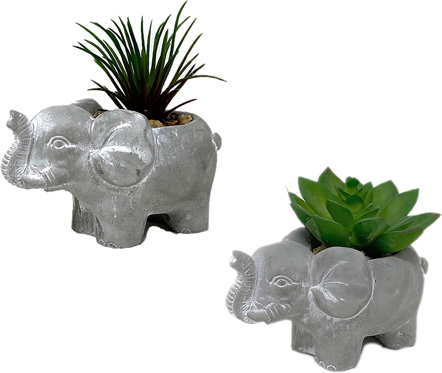 THE NIFTY NOOK Set of 2 New Good Luck Elephant Succulent Planter Pots with Artificial Plants for Your Home or Office, Table or Desk Decor