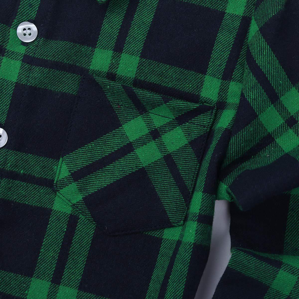 Freebily Unisex Boys Girls Long Sleeve Plaid Button Down Callored Shirt School Daily Casual Tops