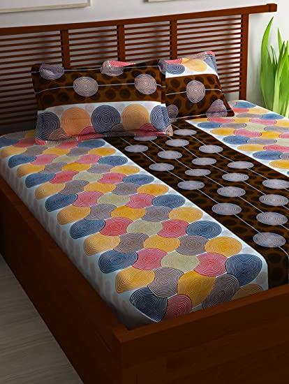 716bc7ba57 Story@Home 100% Cotton Bed Sheet for Double Bed with 2 Pillow Covers Set,  Candy Queen Size Bedsheet Series, 120 TC, Geometric Circles Pattern, ...