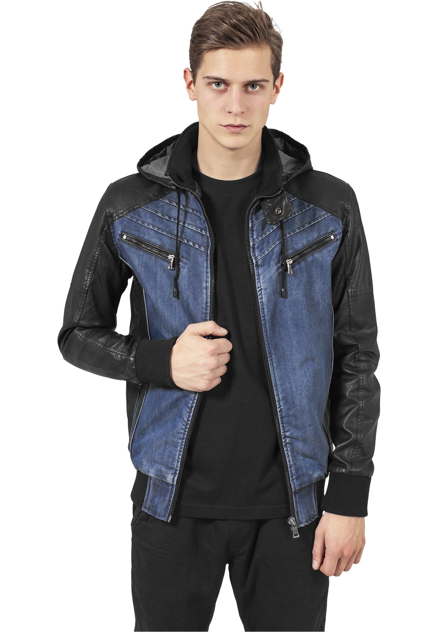 Urban Classics Mens Light Jacket TB675 Hooded Denim Leather Jacket Color: denim/black in Size: Small