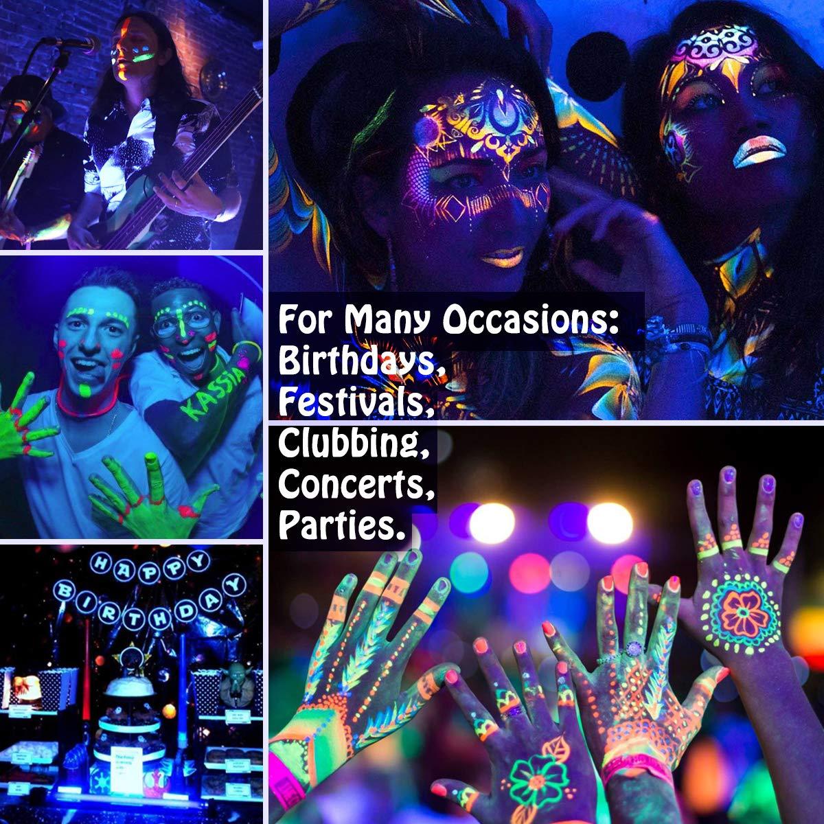 Luckyfine-8-x-28g-Pintura-Corporal-y-Facial-UV-Glow-Pintura-Neon miniatura 4