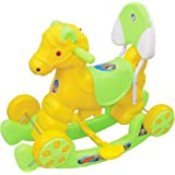 Her Home Murphy Musical Baby Horse 2-in-1 Rocker Cum Ride-on with Backrest for Kids (Green)