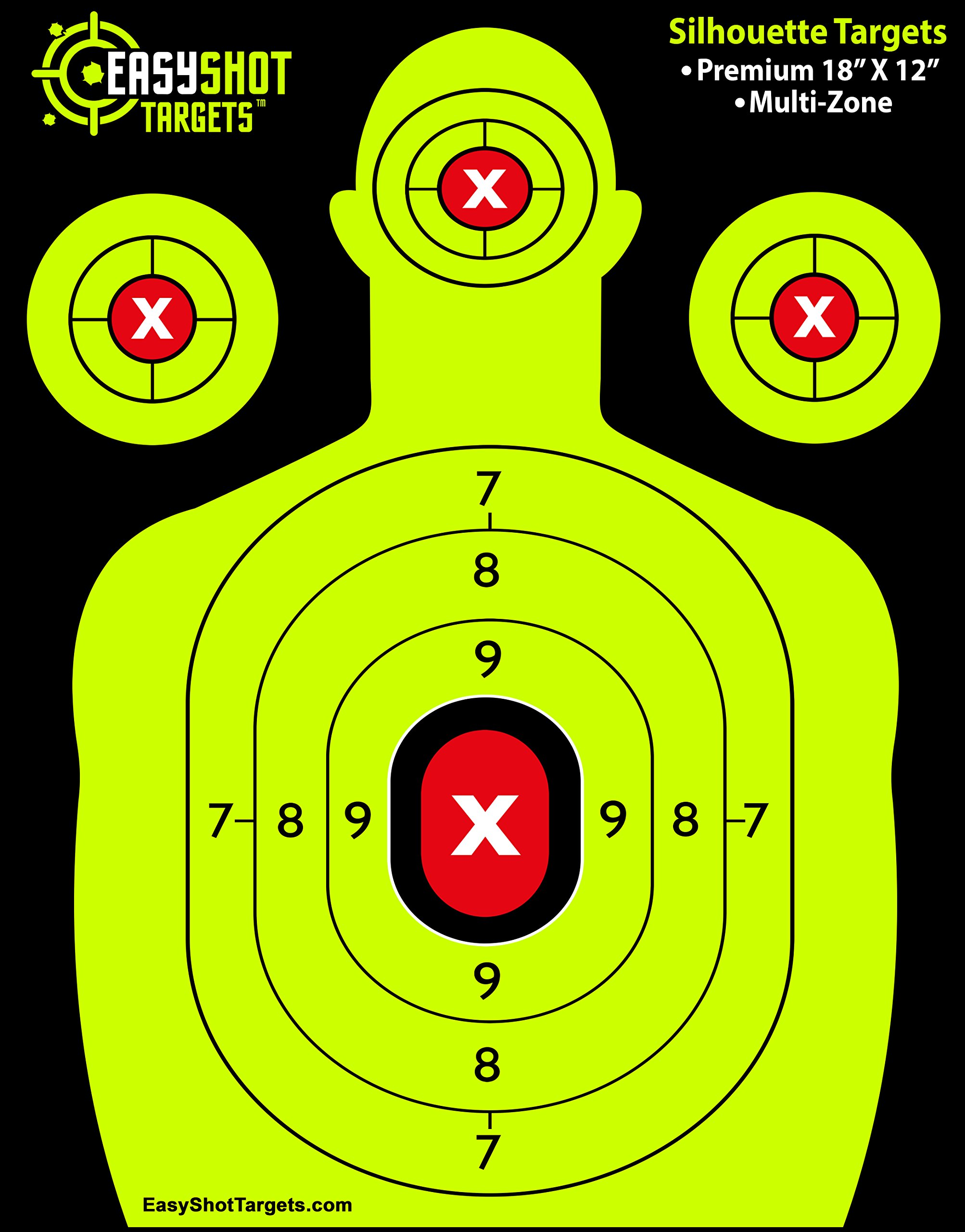EASYSHOT Shooting Targets 18 X 12 inch. Shots are Easy to See with Our High-Vis Neon Yellow & Red Colors. Thick Silhouette Paper Sheets for Pistols, Rifles, BB Guns, Airsoft, Pellet Guns & More. by EasyShot Targets (Image #1)
