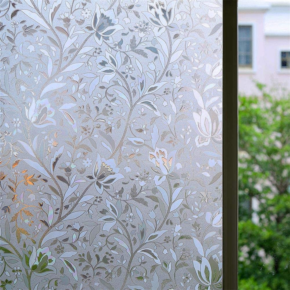 Bloss Excellent 3D Static Cling Window Film Non-Adhesive Window Covering Decorative Flower Privacy Film for Glass - 17.7 x 78.7 inch, 1 Roll