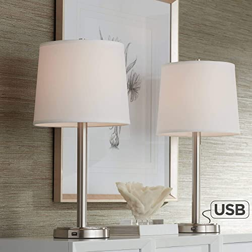 Camile Modern Table Lamps Set of 2 with Hotel Style USB Charging Port Brushed Steel Off White Drum Shade for Living Room Family Bedroom – 360 Lighting