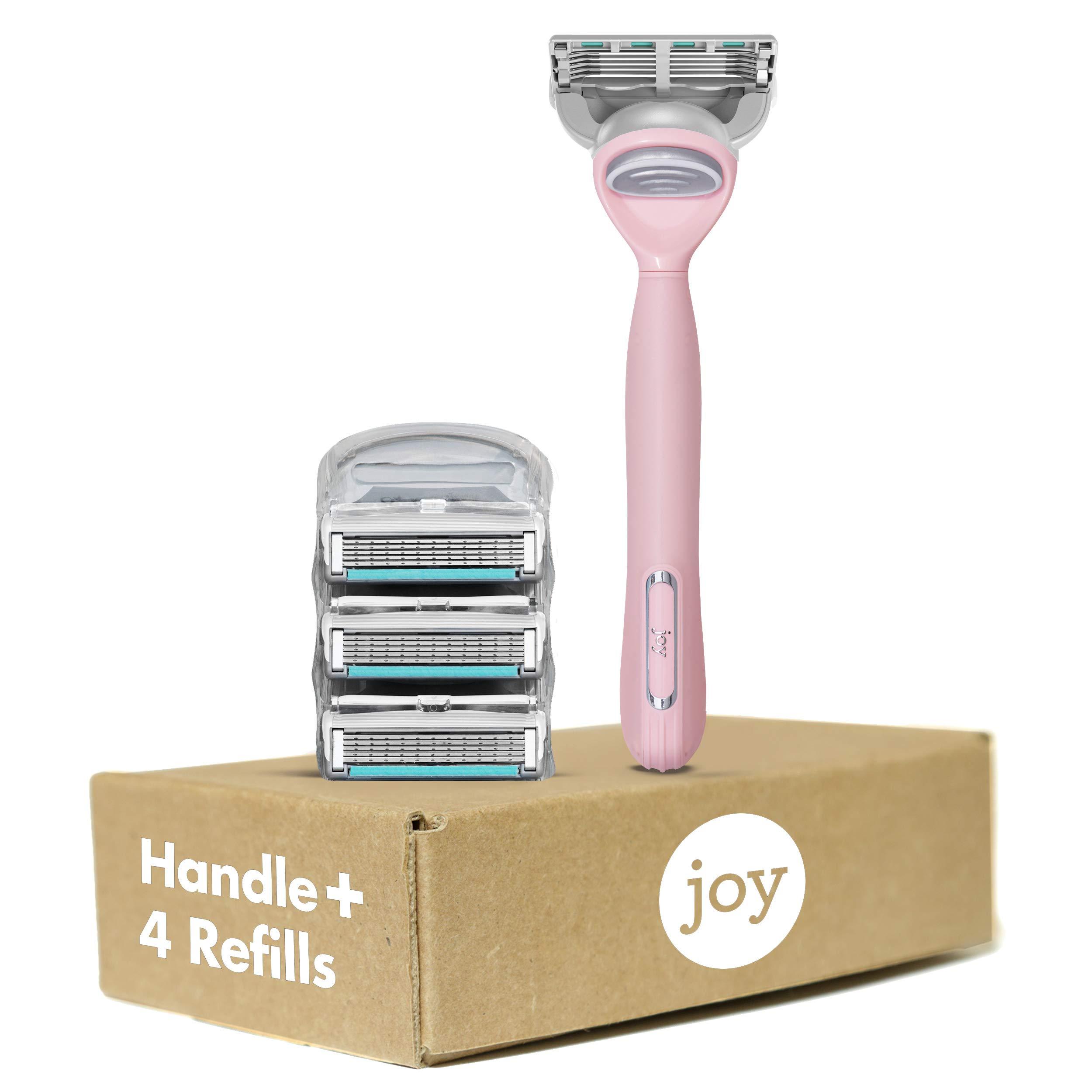 joy Women's Razor Handle + 4 Razor Blade Refills, Pink
