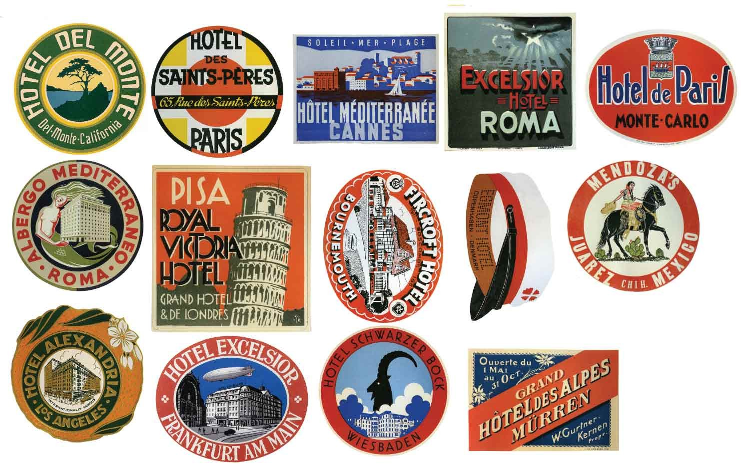 HLD14 Vintage Hotel Luggage Label Stickers - Pack Of 14 Suitcase Travel Decals Large Multi Large Multi: Automotive