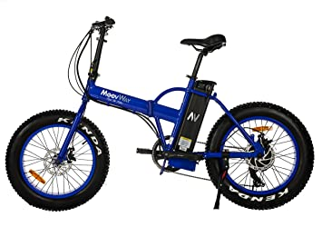 Moovway - Bicicleta fat bike todoterreno eléctrica plegable, color azul