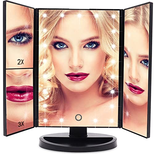 EmaxDesign Vanity Mirror 21 LED lighted Makeup Mirror With Magnification Trifold Touch Screen, USB Charging 180 Free Rotation Table Countertop Cosmetic Mirror BLACK