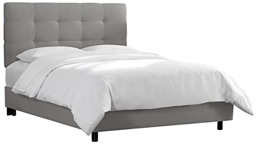 Skyline Furniture Tufted Bed, King, Linen Grey