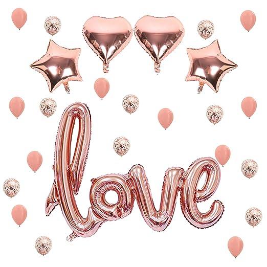 READY TO FIESTA Globos Love Rose Gold | 25 Piezas | Globos Aniversario | Amor y Amistad | San Valentín | 14 de Febrero | Letras Love Estrellas Co