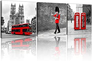 NAN Wind 3 Pcs Modern Giclee Canvas Prints London Black and White with Red Bus Union Jack British Guards Poster Telephone Booth Paintings on Canvas Stretched and Framed Ready to Hang for Home Decor